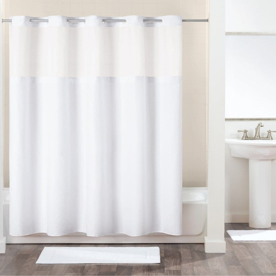 Antigo Hookless Shower Curtain White