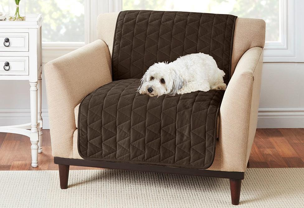 Armless Throw Chair Furniture Cover Pet Furniture Cover 100% Polyester Machine Washable - Chair / Chocolate