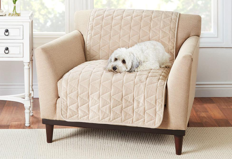 Armless Throw Chair Furniture Cover Pet Furniture Cover 100% Polyester Machine Washable - Chair / Taupe