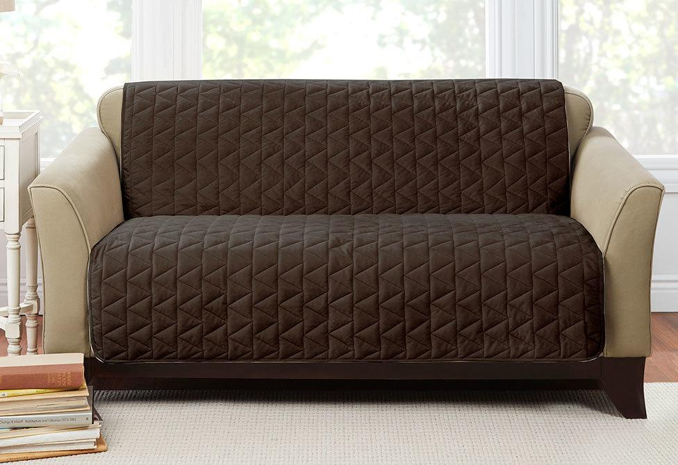Armless Throw Loveseat Furniture Cover Pet Furniture Cover 100% Polyester Machine Washable - Loveseat / Chocolate