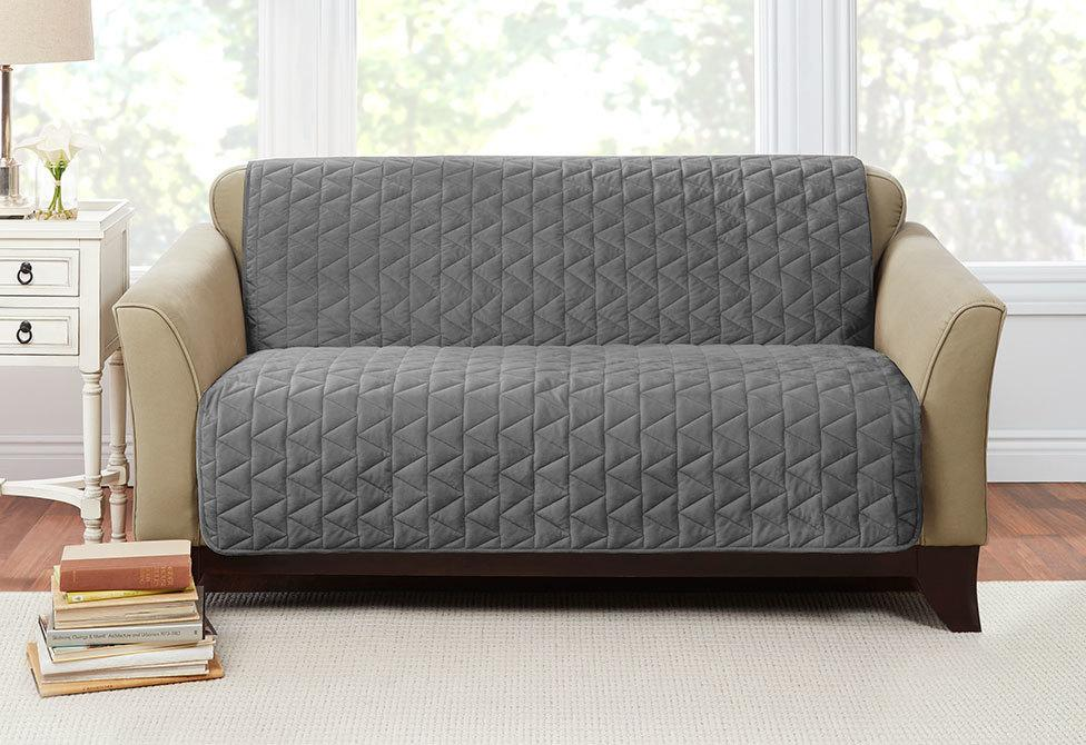 Armless Throw Loveseat Furniture Cover Pet Furniture Cover 100% Polyester Machine Washable - Loveseat / Dark Gray