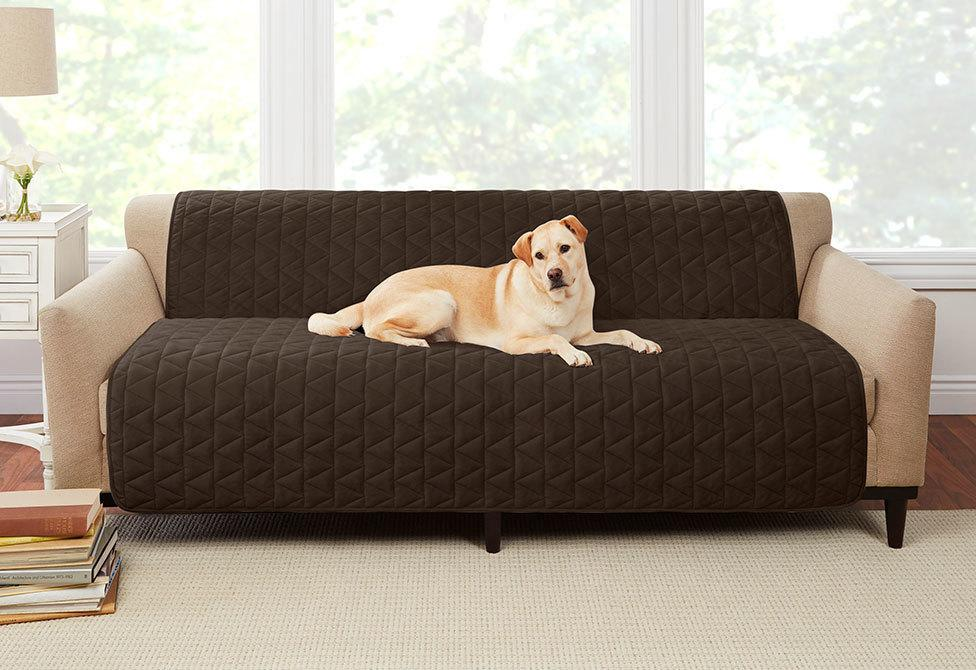 Armless Throw Sofa Furniture Cover Pet Furniture Cover 100% Polyester Machine Washable - Sofa / Chocolate