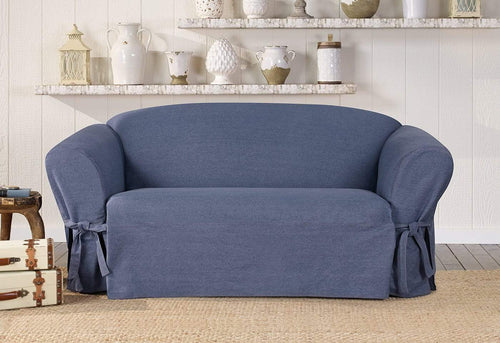 Authentic Denim One Piece Loveseat Slipcover