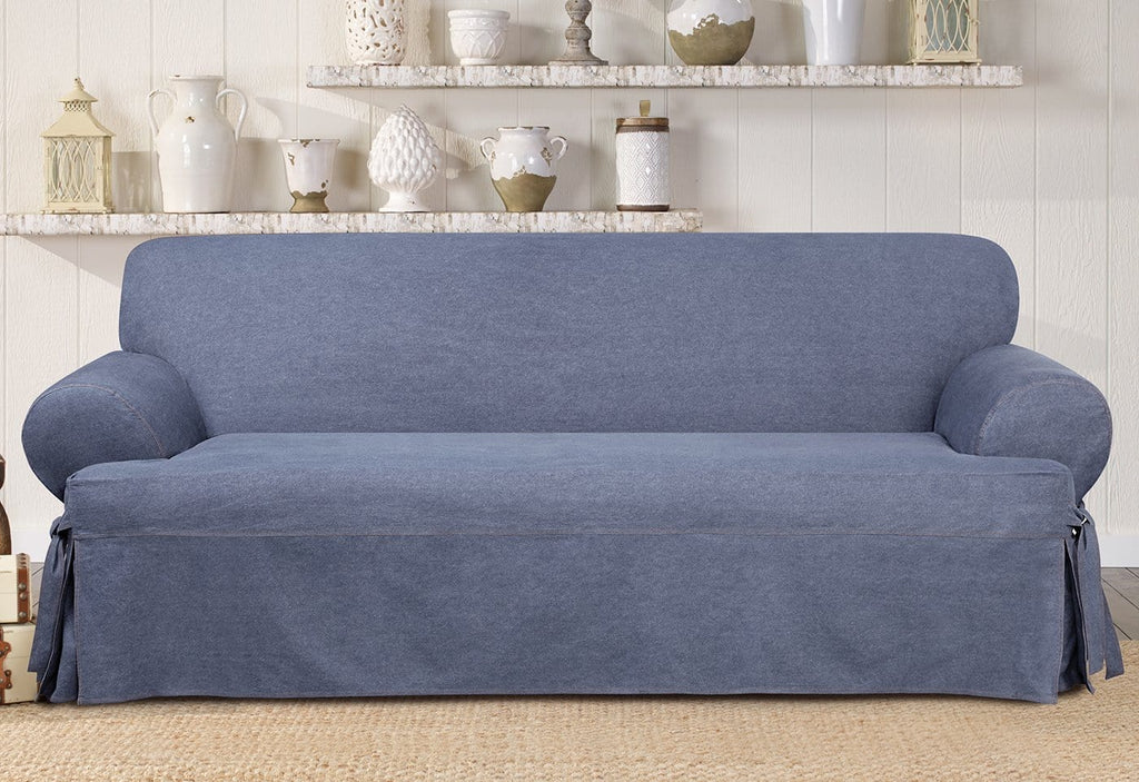 Authentic Denim One Piece Sofa Slipcover Slipcovers For