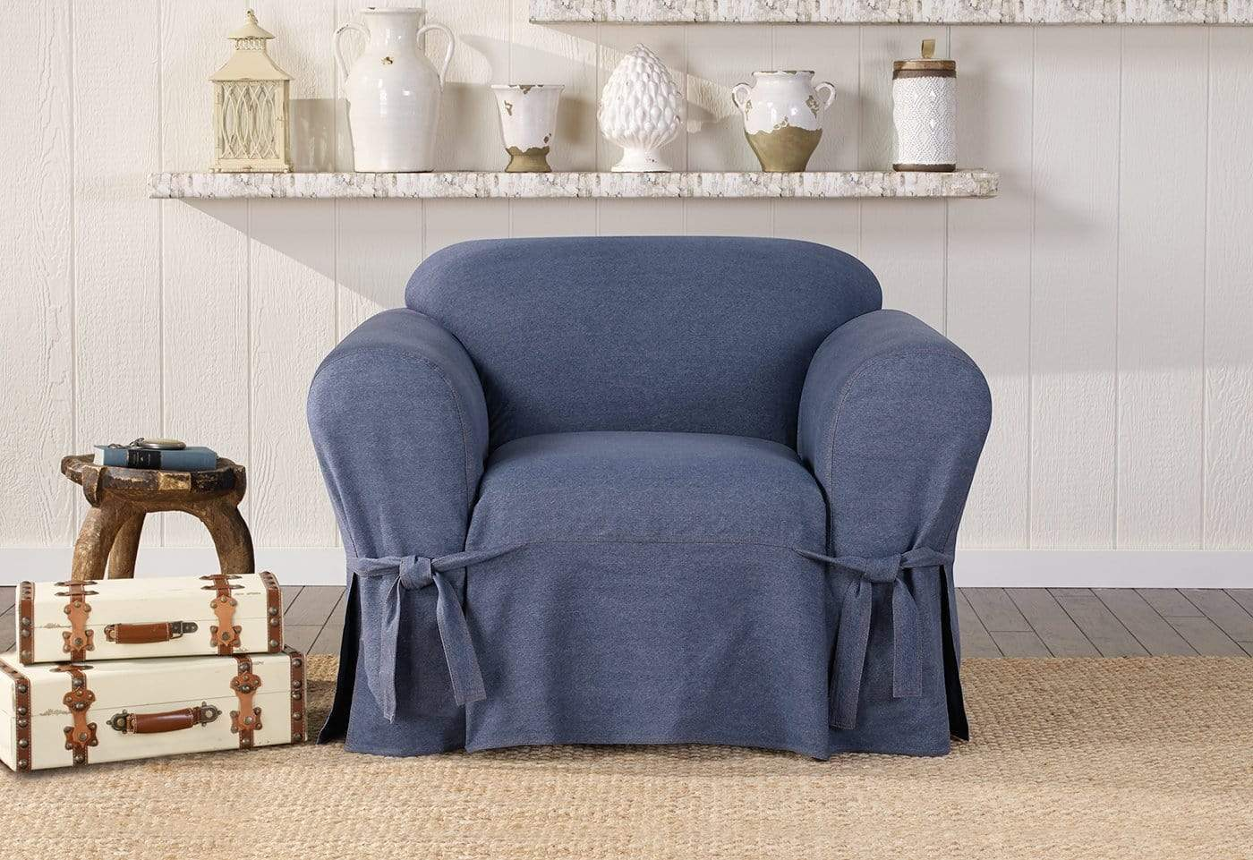 Authentic Denim One Piece Chair Slipcover 1/4 Inch Double Needle Stitching Machine Washable - Chair / Box Cushion / Indigo