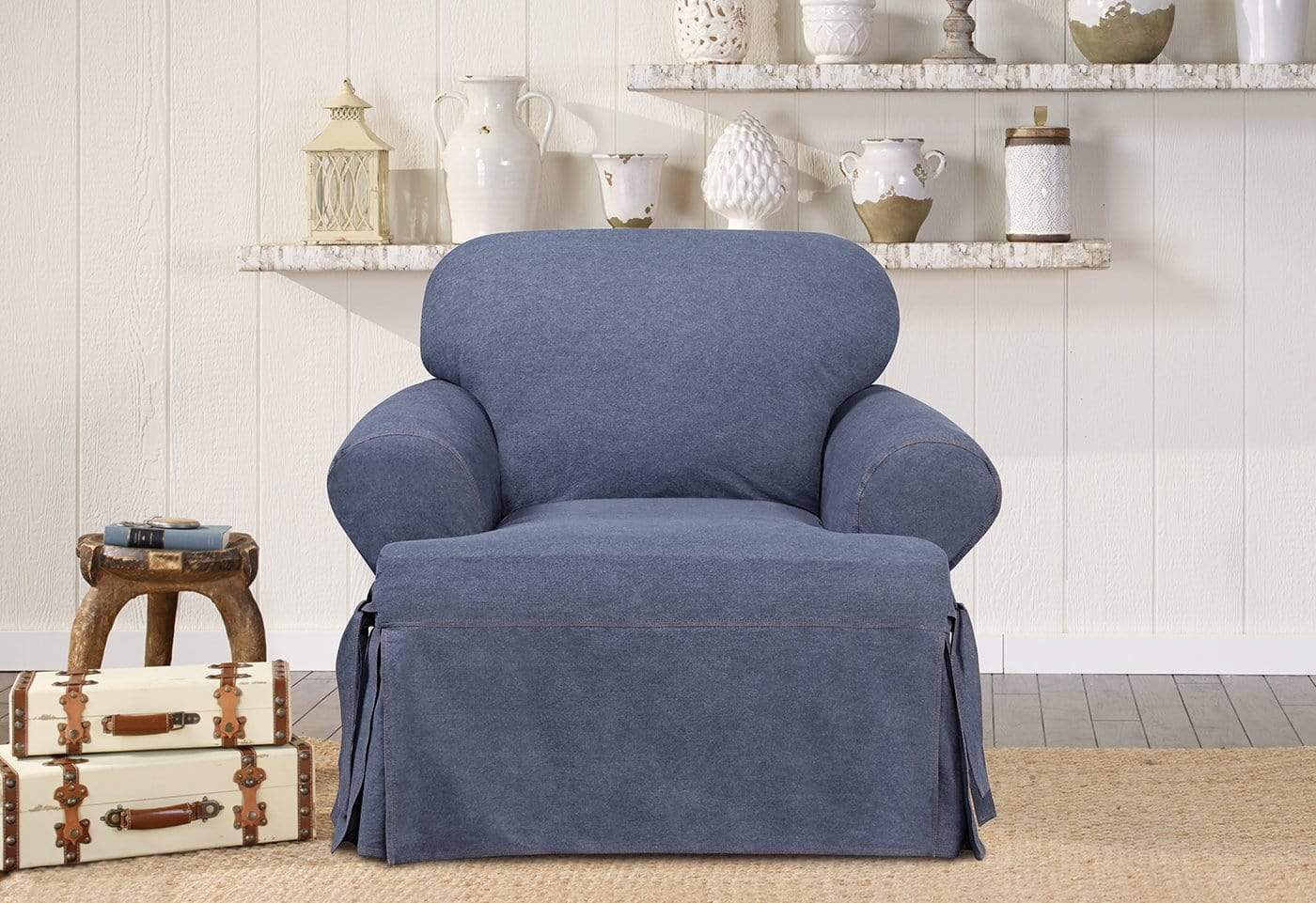 Authentic Denim One Piece Chair Slipcover 1/4 Inch Double Needle Stitching Machine Washable - Chair / T-Cushion / Indigo
