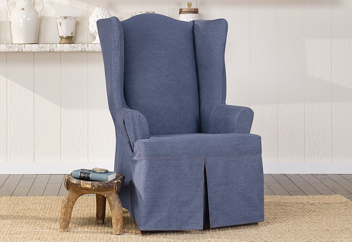 Charmant Authentic Denim One Piece Wing Chair Slipcover