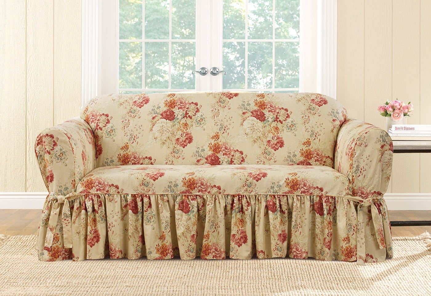 Ballad Bouquet By Waverly One Piece Loveseat Slipcover Ruffled Skirt 100% Cotton Machine Washable - Loveseat / Box Cushion / Blush