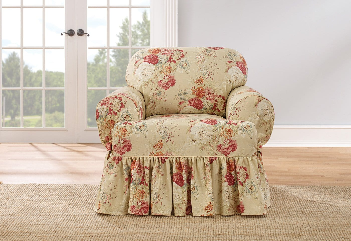 Ballad Bouquet By Waverly One Piece Chair Slipcover 100% Cotton Machine Washable - Chair / T-Cushion / Blush