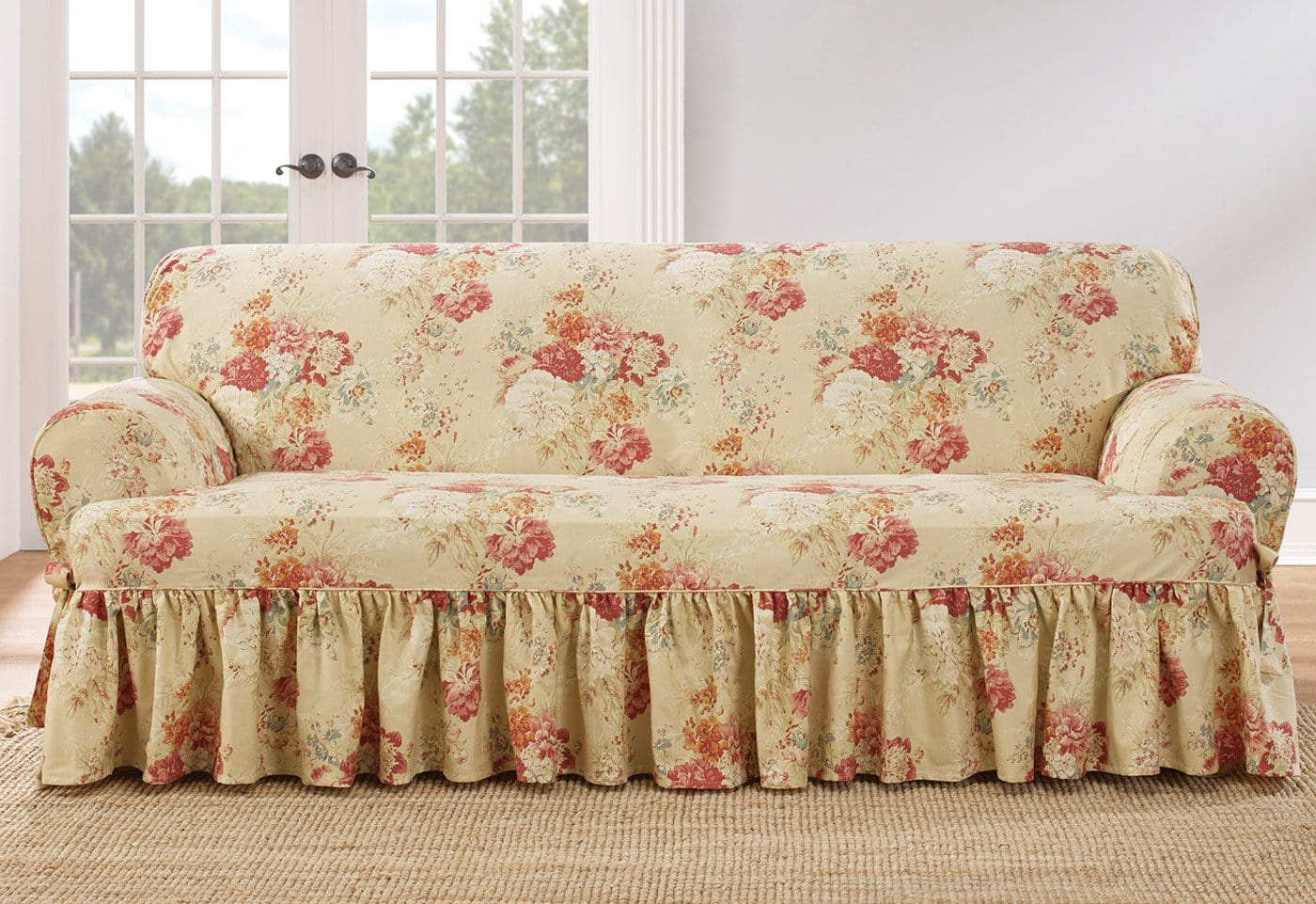 Ballad Bouquet By Waverly One Piece Sofa Slipcover Ruffled Skirt 100% Cotton Machine Washable - Sofa / T-Cushion / Blush