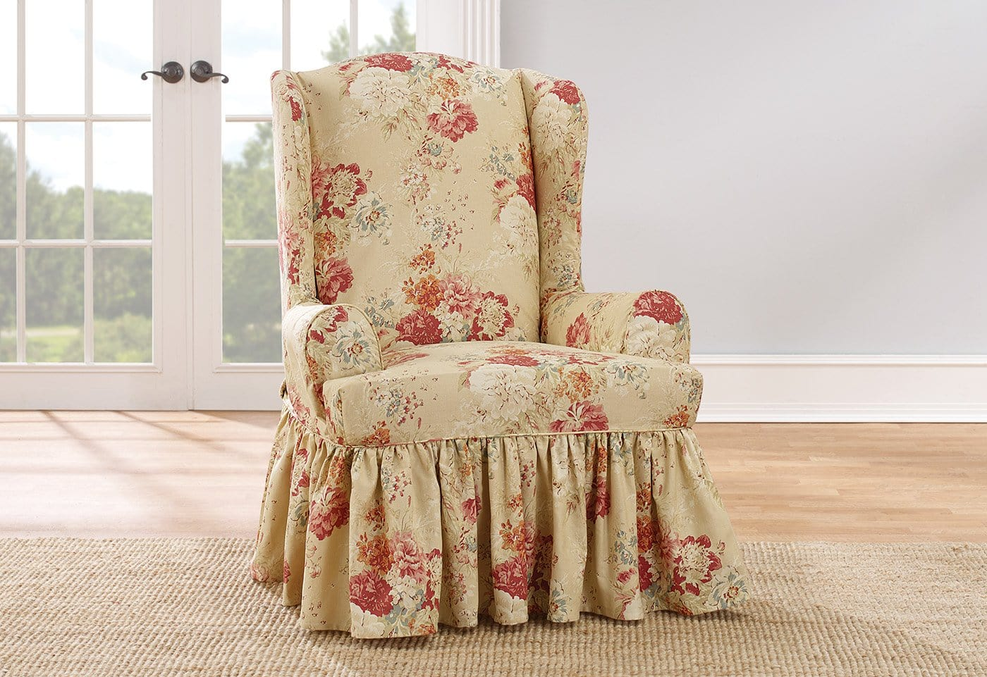 Ballad Bouquet By Waverly One Piece Wing Chair Slipcover Ruffled Skirt 100% Cotton Machine Washable - Wing Chair / T-Cushion / Blush