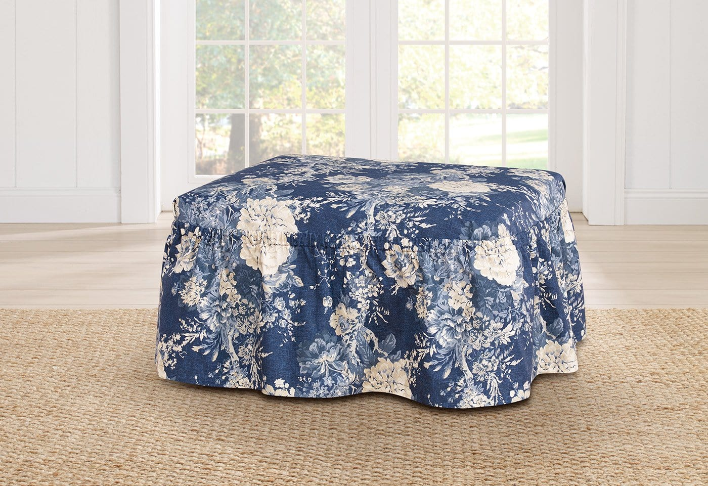 Ballad Bouquet By Waverly Two Piece Ottoman Slipcover - Final Sale
