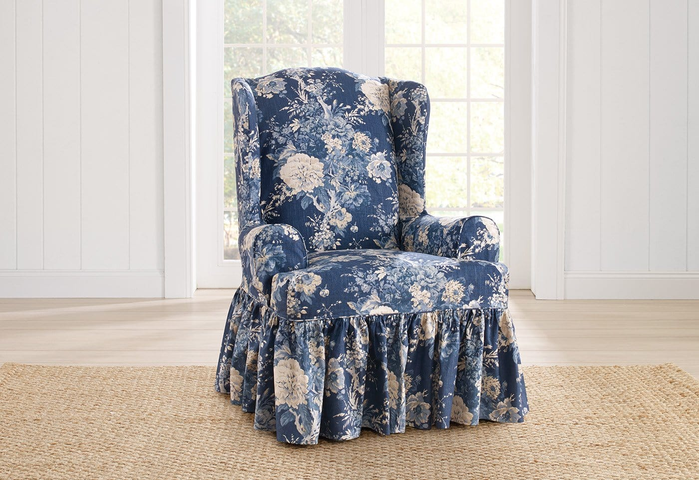Ballad Bouquet By Waverly One Piece Wing Chair Slipcover - Final Sale
