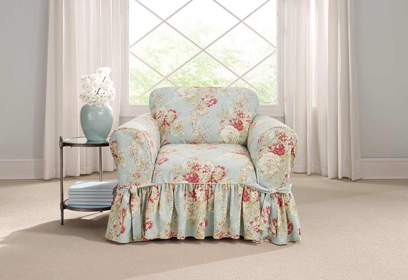 Ballad Bouquet By Waverly One Piece Chair Slipcover 100% Cotton Machine Washable - Chair / Box Cushion / Robins Egg