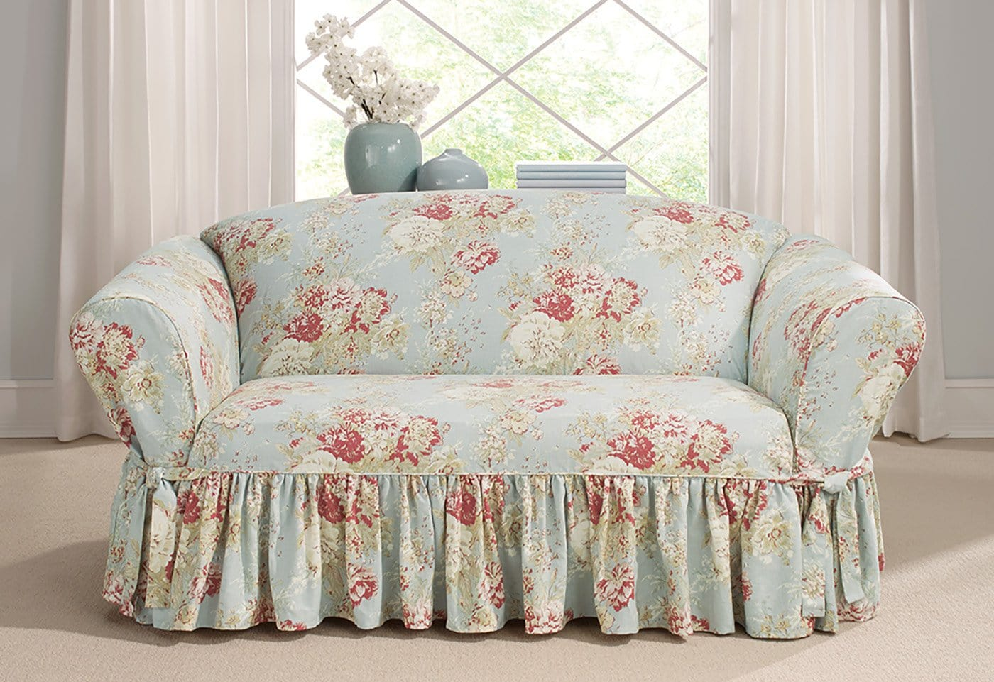 Ballad Bouquet By Waverly One Piece Loveseat Slipcover Ruffled Skirt 100% Cotton Machine Washable - Loveseat / Box Cushion / Robins Egg