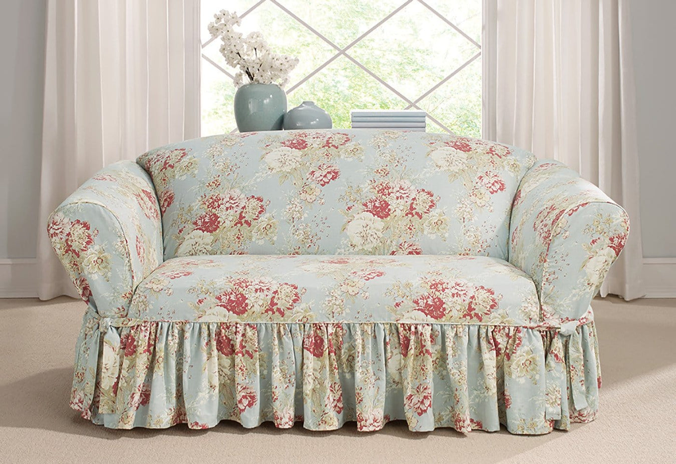 Enjoyable Ballad Bouquet By Waverly One Piece Loveseat Slipcover Andrewgaddart Wooden Chair Designs For Living Room Andrewgaddartcom