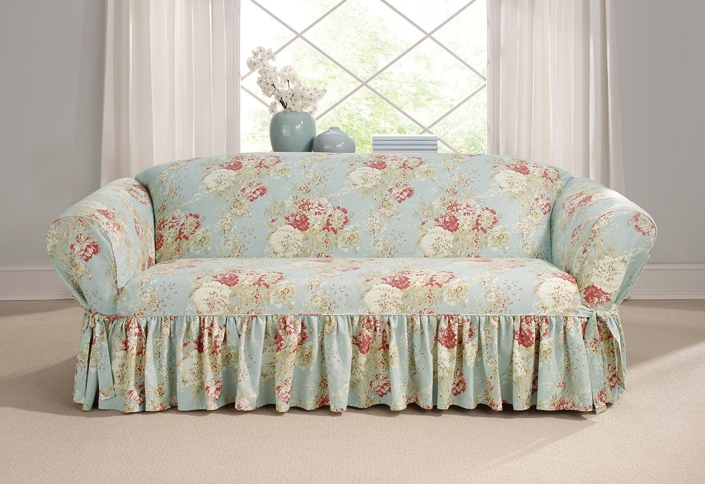 Ballad Bouquet By Waverly One Piece Sofa Slipcover Ruffled Skirt 100% Cotton Machine Washable - Sofa / Box Cushion / Robins Egg