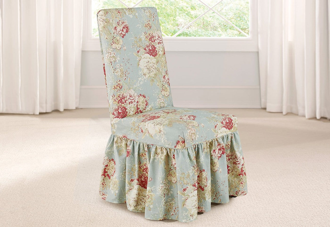 Peachy Ballad Bouquet By Waverly Long Dining Chair Slipcover 100 Cotton Machine Washable Uwap Interior Chair Design Uwaporg