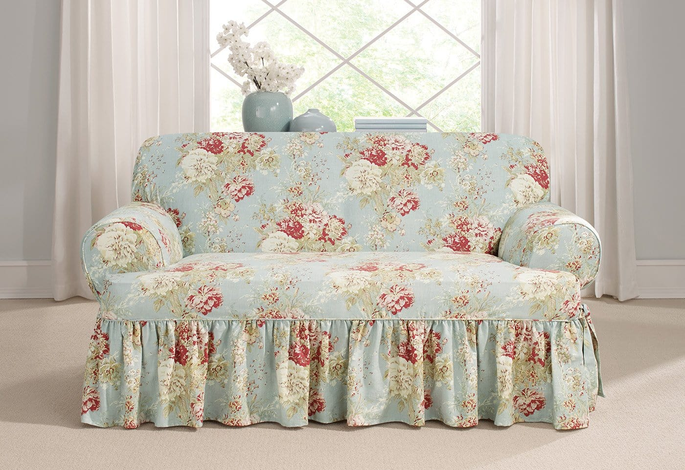 Ballad Bouquet By Waverly One Piece Loveseat Slipcover Ruffled Skirt 100% Cotton Machine Washable - Loveseat / T-Cushion / Robins Egg