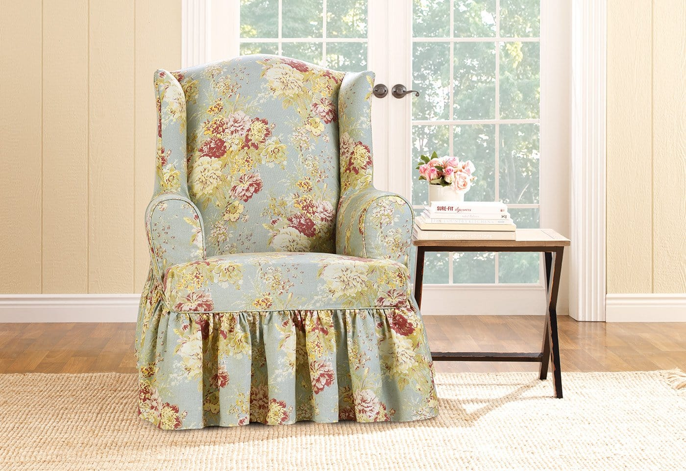 Ballad Bouquet By Waverly One Piece Wing Chair Slipcover Ruffled Skirt 100% Cotton Machine Washable - Wing Chair / T-Cushion / Robins Egg