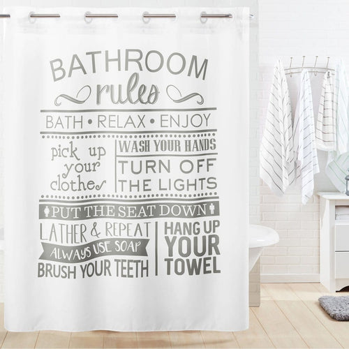 Bathroom Rules Hookless Shower Curtain Multi