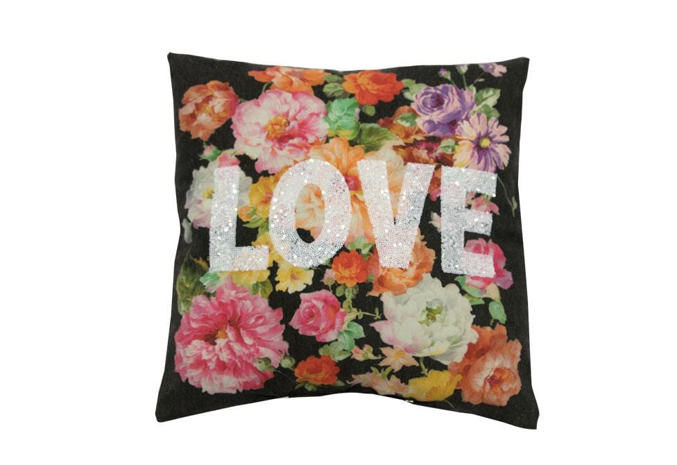 LOVE Beaded Floral  18 inch square Decorative Pillow