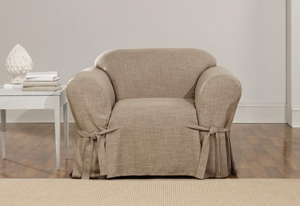 Textured Linen One Piece Chair Slipcover