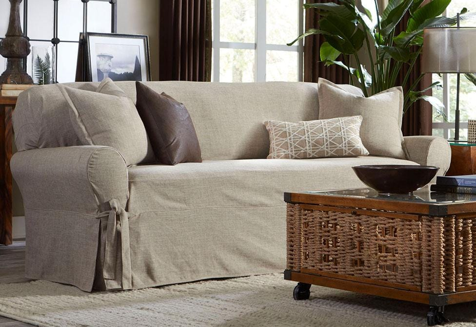 Textured Linen One Piece Sofa Slipcover| Relaxed Fit | Box Cushion |  Machine Washable