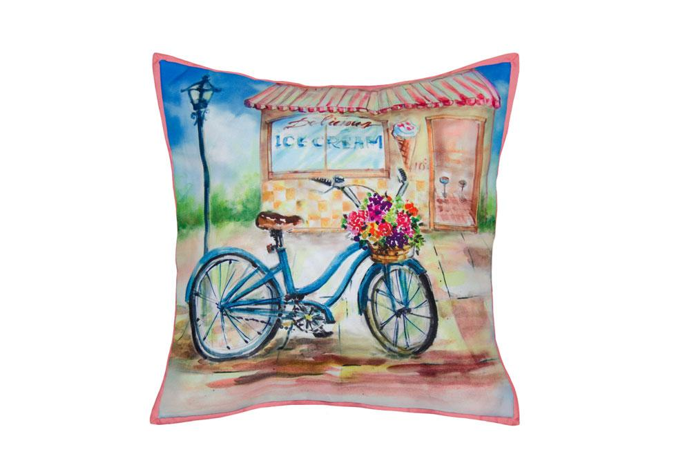 Bike & Ice Cream  20 inch square Decorative Pillow