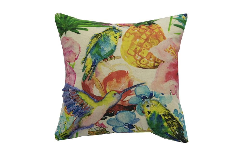 Bird Paradise Floral   18 inch square Decorative Pillow