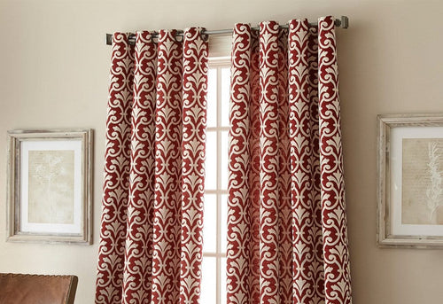 Bradford Grommet Window Curtain Drapery Panel Red