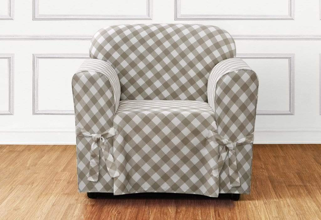 Buffalo Check One Piece Chair Slipcover Relaxed Fit 100% Cotton Machine Washable - Chair / Box Cushion / Tan Check