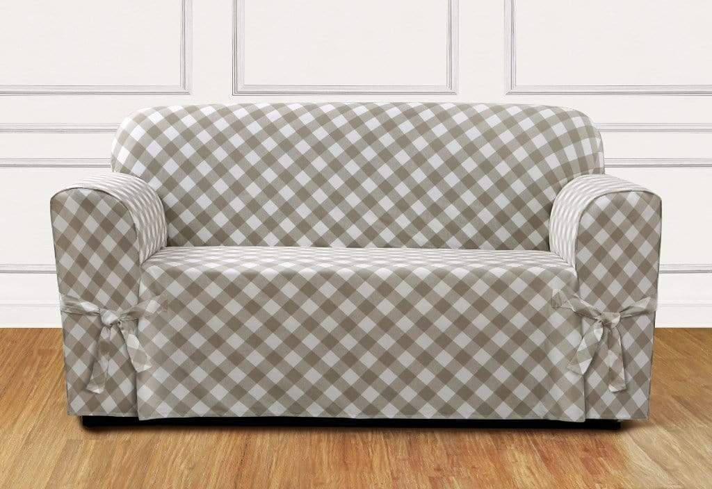 Buffalo Check One Piece Loveseat Slipcover Relaxed Fit 100% Cotton Machine Washable - Loveseat / Box Cushion / Tan Check