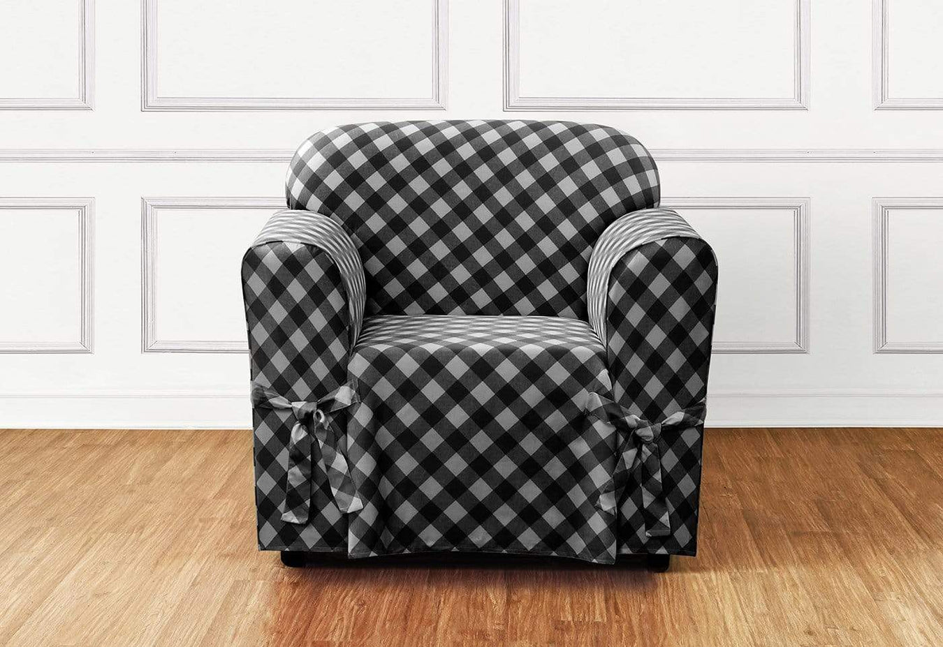 Awe Inspiring Buffalo Check One Piece Chair Slipcover Relaxed Fit 100 Cotton Machine Washable Gmtry Best Dining Table And Chair Ideas Images Gmtryco