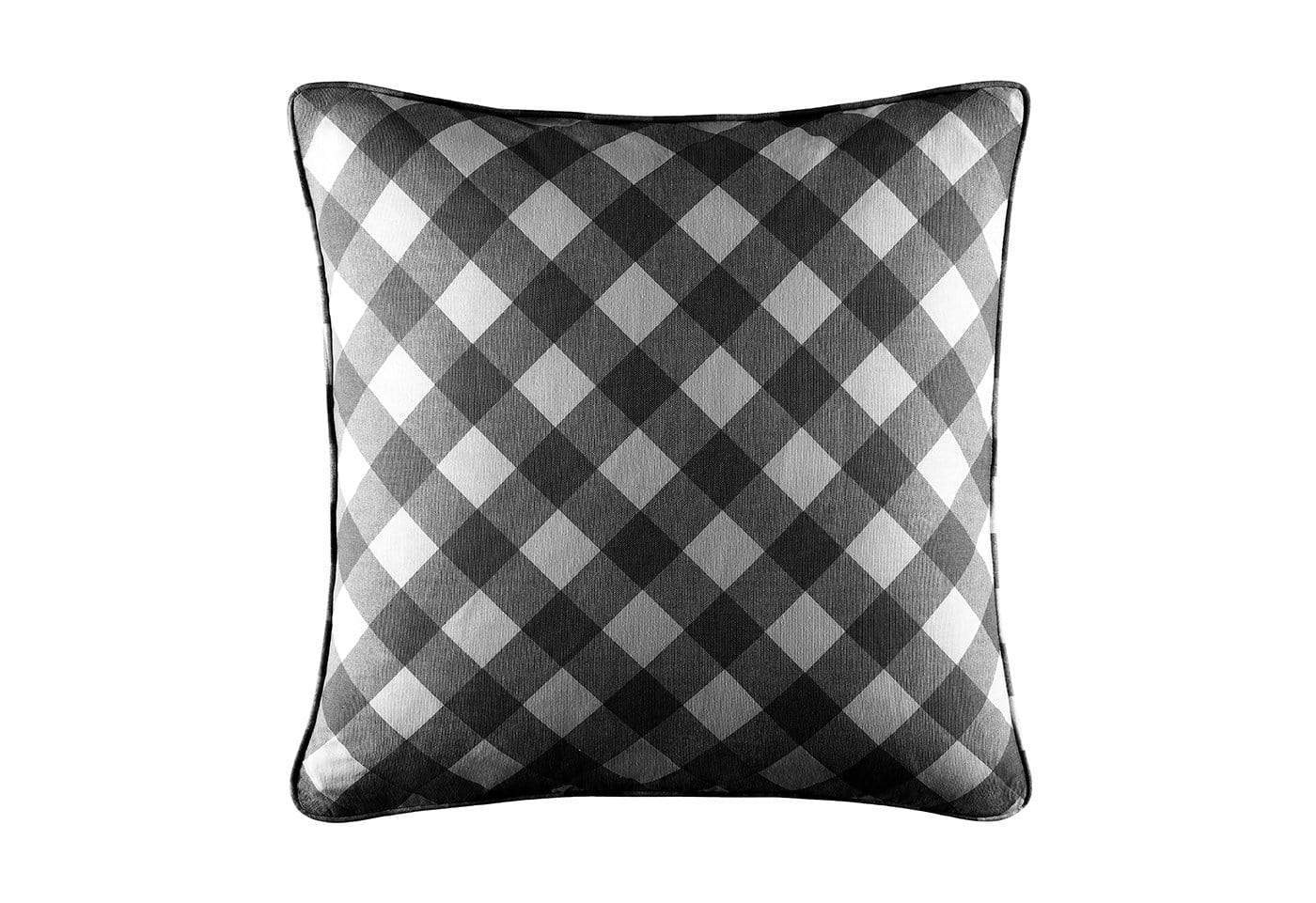 Buffalo Check 18 Inch Square Pillow Cover - 18x18 / Black