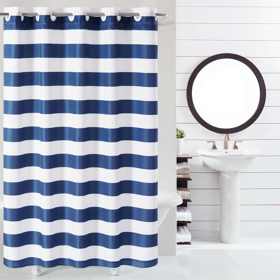 Cabana Stripe Hookless Shower Curtain Navy