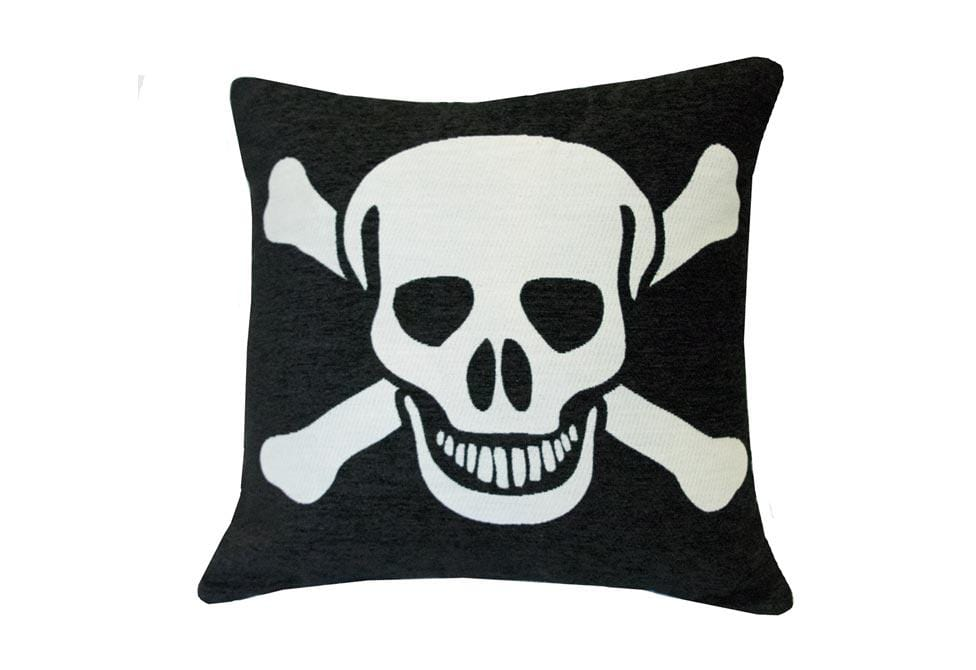 Chenille Skull 20 Inch Square Decorative Pillow