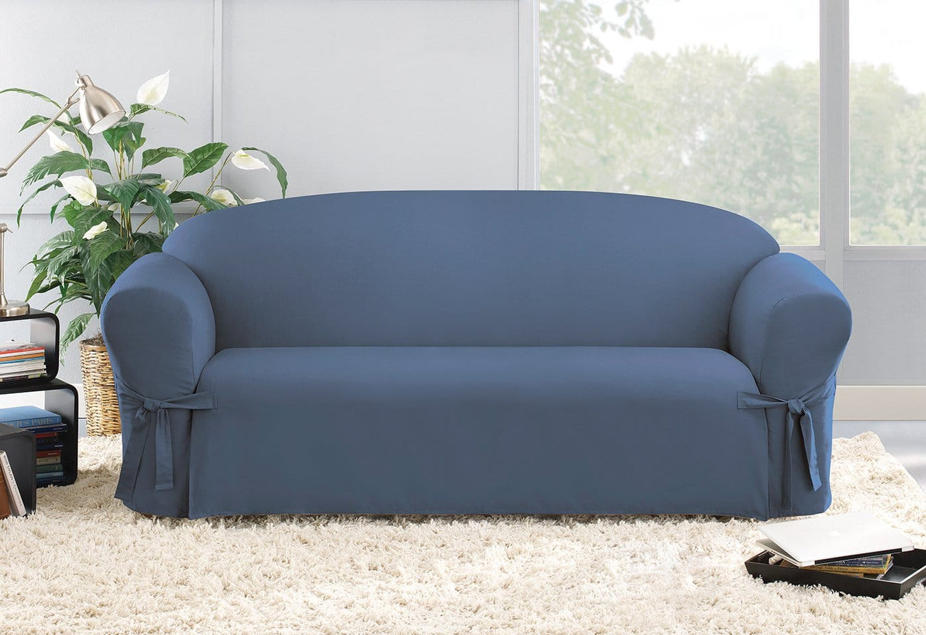Cotton Duck One Piece Sofa Slipcover