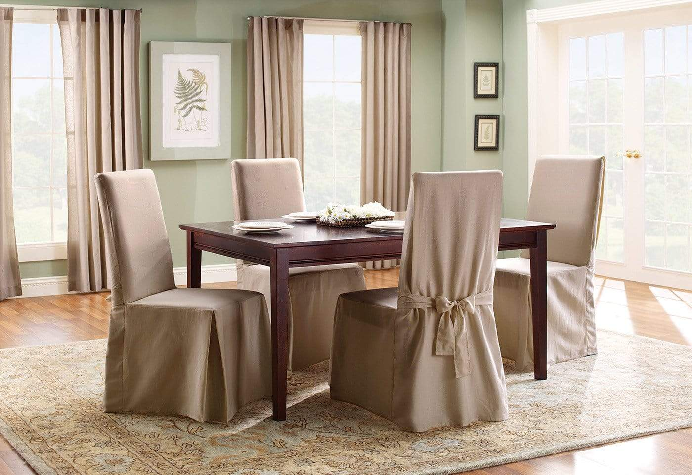 Dining Room Chair Slipcovers Cheap cotton duck long dining chair slipcover | surefit