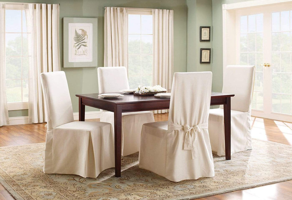 Cotton Duck Long Dining Chair Slipcover Surefit