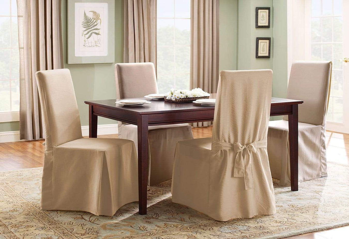 Fantastic Cotton Duck Long Dining Chair Slipcover One Piece 100 Cotton Machine Washable Cjindustries Chair Design For Home Cjindustriesco