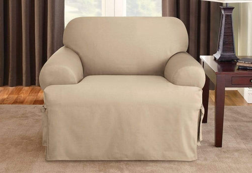 Cotton Duck One Piece Chair Slipcover Tan