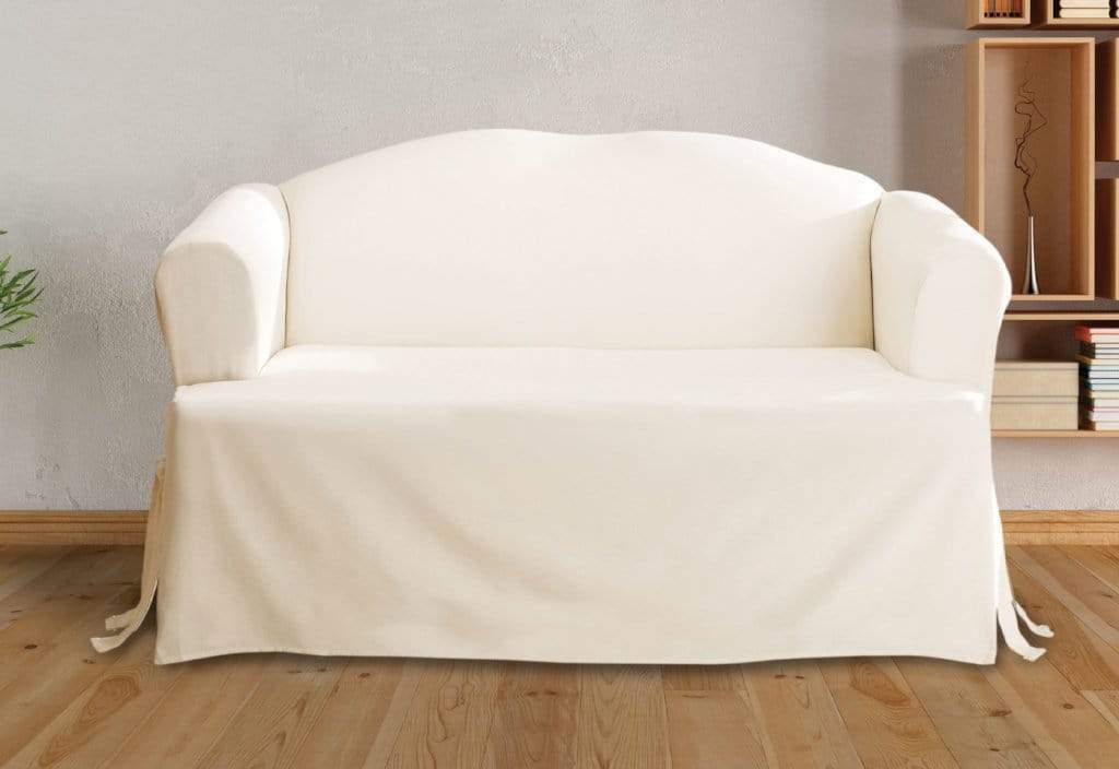 Marvelous Cotton Duck One Piece Loveseat Slipcover Relaxed Fit Corner Ties 100 Cotton Machine Washable Squirreltailoven Fun Painted Chair Ideas Images Squirreltailovenorg