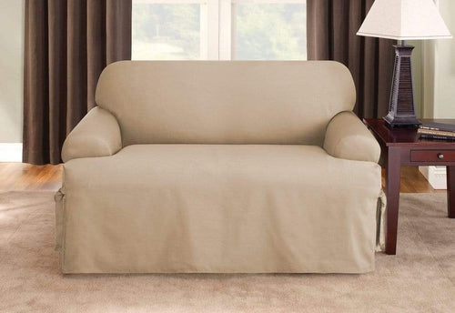 Cotton Duck One Piece Loveseat Slipcover Tan
