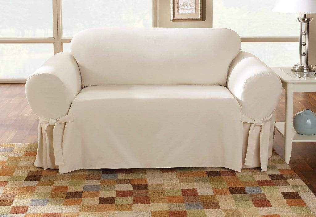 Cotton Duck One Piece Straight Skirt Loveseat Slipcover Natural