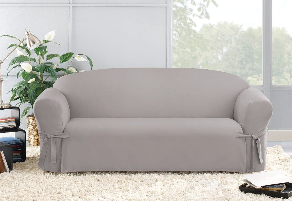 Cotton Duck One Piece Straight Skirt Sofa Slipcover Gray