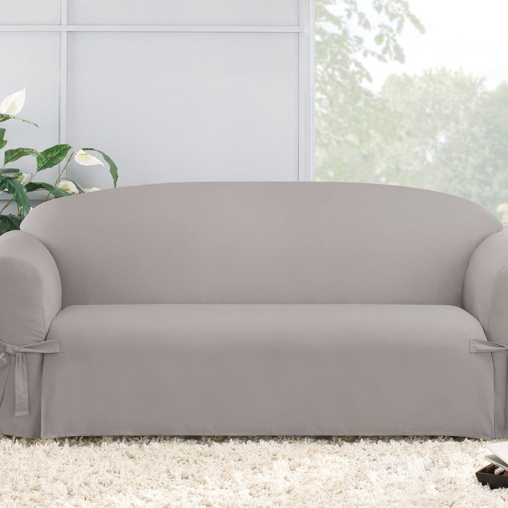 Cotton Duck Sofa Slipcover Light Gray Slipcovers