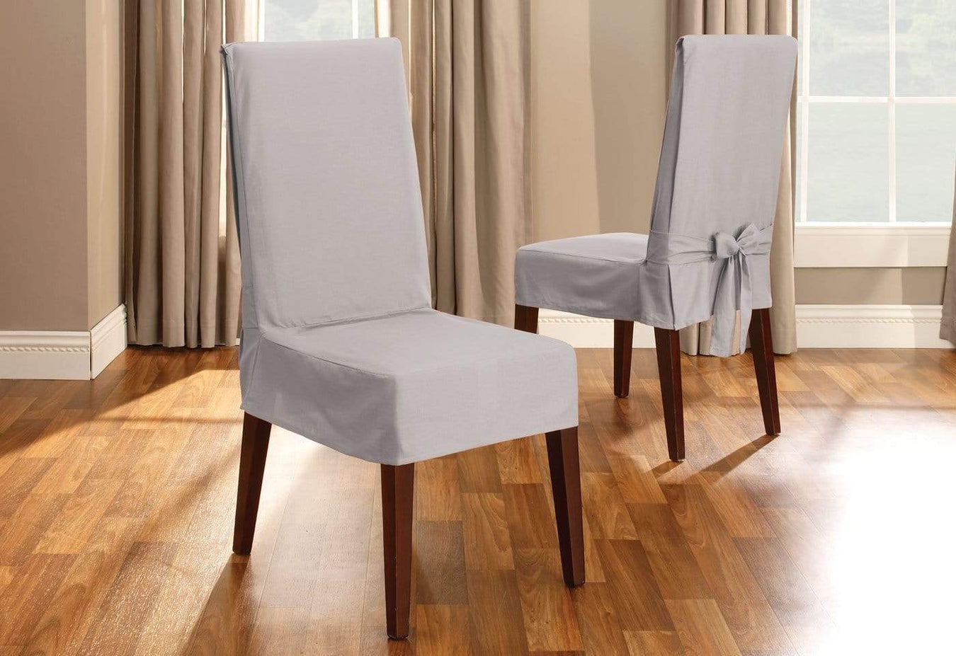 Surprising Cotton Duck Short Dining Chair Slipcover Slipcovers For Cjindustries Chair Design For Home Cjindustriesco