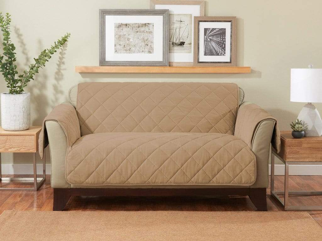 Cozy Twill Loveseat Furniture Cover Camel