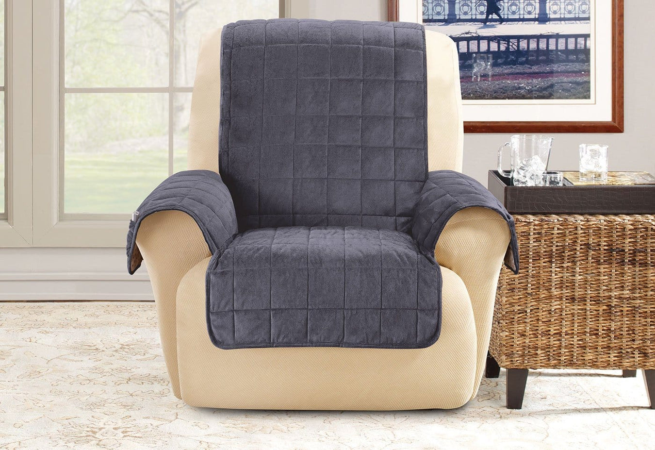 Chocolate Non Slip Diamond Pattern Sure Fit Deep Pile Chair Pet Cover in Brown